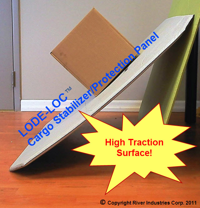 LODE-LOC Panel show a grippy surface, stopping carton from sliding.